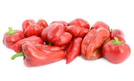 Pimientas rojas dulces aisladas en el fondo blanco Foto de archivo libre de regalías