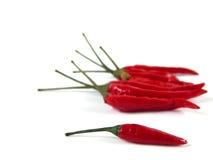 Pimientas rojas en el fondo blanco Foto de archivo libre de regalías