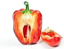 Pimientas rojas frescas en el contexto de Foto de archivo