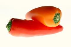 Pimientas rojas y anaranjadas Foto de archivo