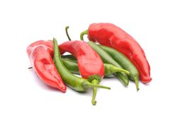 Pimientas rojas y pimientas de chile Imagen de archivo