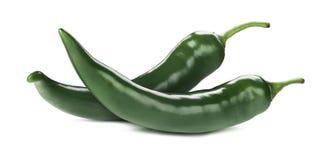 Pimientas verdes del chile picante aisladas en el fondo blanco Foto de archivo libre de regalías