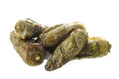 Pimientas verdes del jalapeno de la carne asada en blanco Fotos de archivo libres de regalías