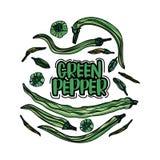Pimientas verdes dibujadas mano Foto de archivo