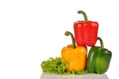 Pimientas verdes y amarillas rojas en la hoja de la ensalada aislada en blanco Fotografía de archivo