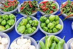 Pimientas y coliflores en diversos colores y clases Foto de archivo