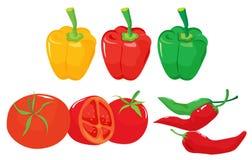 Pimientas y tomates Fotografía de archivo