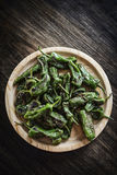 Pimientos padron grilled green peppers spanish tapas snack Royalty Free Stock Photo
