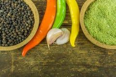 Pimientos picantes de diversos colores, de la pimienta negra y del ajo Imagenes de archivo