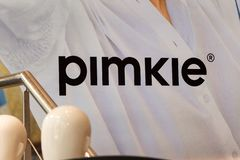 Pimkie logo on Pimkie store. TOLEDO, SPAIN - JUNE 8, 2019. Pimkie logo on Pimkie store. Pimkie is a fast fashion label for young women`s clothing stock images