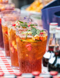 Pimm`s Cocktail Pitchers, Outdoor Summer Bar. Royalty Free Stock Image