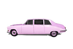Pimped Pink Retro Car. Pimped pink retro wedding car isolated on white Stock Photo
