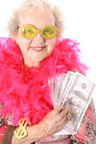 Pimpin Granny. Showing off her money isolated on white Royalty Free Stock Image