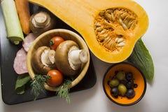 Pimpkin с томатами и champignons Стоковые Изображения