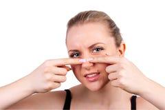 Pimple di compressione della donna Fotografia Stock Libera da Diritti
