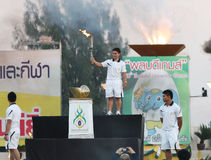 Pimsiri Sirikaew women's weightlifting of Thailand torch relay for the 40th Thailand University Games Stock Images