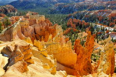 Pináculos de oro de Bryce Canyon National Park, Utah Foto de archivo