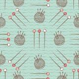 Pin坐垫Needles无缝的样式缝合的手工艺 向量例证