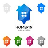 Pin дома, дизайн логотипа вектора недвижимости с уникально домом Стоковые Изображения
