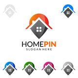 Pin дома, дизайн логотипа вектора недвижимости с уникально домом Стоковая Фотография RF