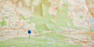 Pin на карте Стоковая Фотография RF