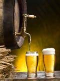 Pin пива и стекла пива Стоковые Фото