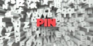 PIN -在印刷术背景的红色文本- 3D回报了皇族自由储蓄图象 免版税库存图片