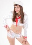 Pin acima da menina no terno de revelação do marinheiro imagens de stock royalty free