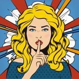 Pin acima da mulher que põe seu dedo indicador a seus bordos para bastante o silêncio Estilo da banda desenhada do pop art Ilustr Fotos de Stock Royalty Free