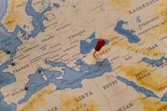 A pin on ankara, turkey in the world map.  royalty free stock photos