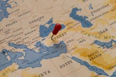 A pin on ankara, turkey in the world map.  royalty free stock images