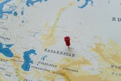 A pin on astana, kazakhstan in the world map stock image