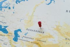 A pin on astana, kazakhstan in the world map stock photography