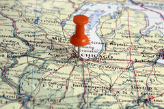 Pin auf Chicago-Standort Stockfoto