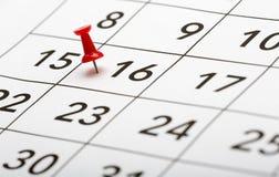 Pin auf dem Datum Nr. 16 Lizenzfreies Stockfoto