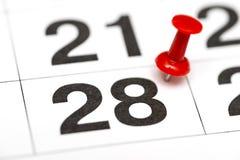 Pin auf dem Datum Nr. 28 Der achtundzwanzigste Tag des Monats wird mit roten Rei?zwecken markiert Pin auf Kalender stockfoto