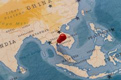 A pin on Bangkok, Thailand in the world map.  royalty free stock photo