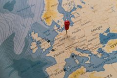 A pin on berlin, germany in the world map.  royalty free stock images