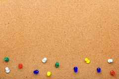 Pin board texture for background and colorful pins frame royalty free stock photography
