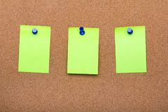 Pin board texture for background, corolful pins and sticky notes stock photo
