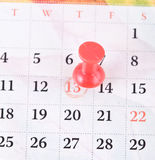 Pin and calendar. Background with red pin and calendar Royalty Free Stock Images