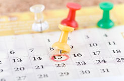 Pin and calendar. Royalty Free Stock Images