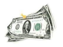 Pin cento banconote in dollari su fondo bianco 3d rendono Fotografia Stock