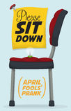 Pin in Chair Prank for April Fools' Day, Vector Illustration. Pin and chair prank in a sign commemorating April Fools' celebration Royalty Free Stock Image