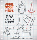 Pin in Chair Prank for April Fools' Day, Vector Illustration. Unaware person don't see the pin and sits in the chair in April Fools' prank Royalty Free Stock Photo