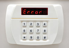 Pin code ERROR on security system Royalty Free Stock Photo