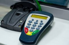 PIN-code input device in the bank.  royalty free stock photos