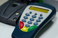 PIN-code input device in the bank.  stock photography