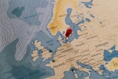 A pin on copenhagen, denmark in the world map stock images
