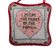 Pin cushion with heart and message Stock Photo